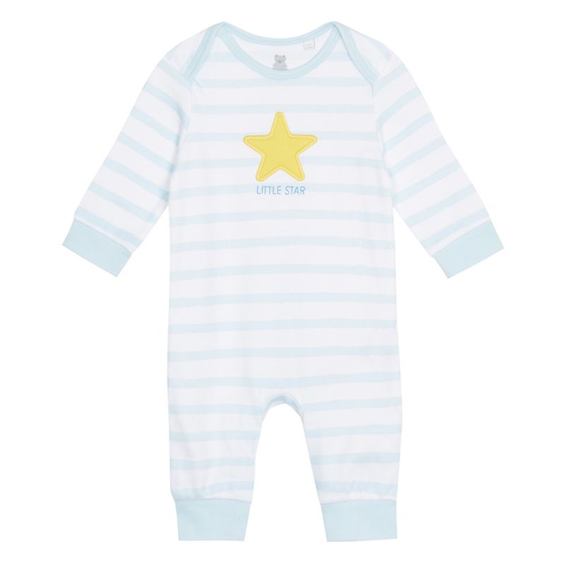 bluezoo Baby boys light blue striped star applique sleepsuit