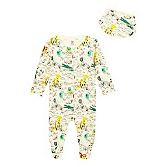 bluezoo - Baby boys' ivory safari print sleepsuit and hat