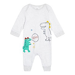 bluezoo - Baby boys' grey dinosaur applique sleepsuit