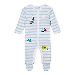 bluezoo - Baby boys' light blue striped badge applique sleepsuit