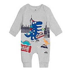 bluezoo - Baby boys' grey city scene dinosaur print sleepsuit