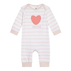 bluezoo - Baby girls' pink striped sleepsuit