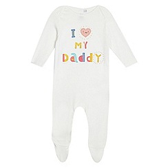 bluezoo - Baby girls' off white 'I love daddy' slogan sleepsuit