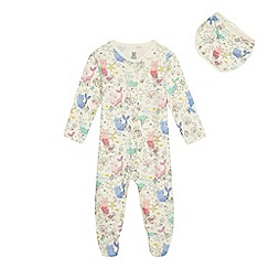 bluezoo - Baby girls' off white mercat print sleepsuit with a bib