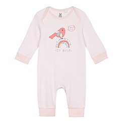 bluezoo - Baby girls' pink bird applique romper suit