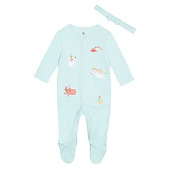 bluezoo - Baby girls' green applique sleepsuit