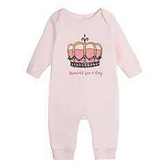 bluezoo - Baby girls' pink 'Princess for a day' print romper suit