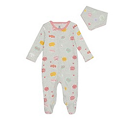 bluezoo - Baby girls' grey conversation print sleepsuit and bib set