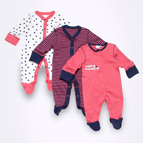bluezoo - Babies pack of three pink spotted striped and star patterned sleepsuits