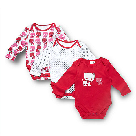 bluezoo - Babies pack of three pink cat printed bodysuits