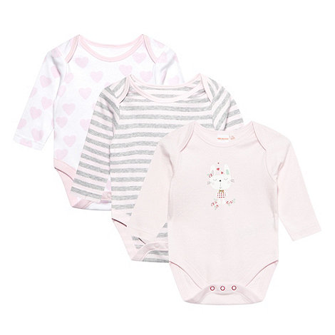 bluezoo - Babies pack of three pale pink bunny bodysuits