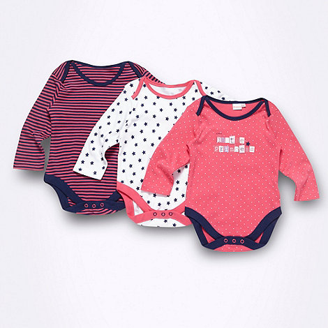 bluezoo - Babies pack of three pink spotted striped and star patterned bodysuits