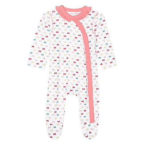 bluezoo - Babies pink bow printed babygrow