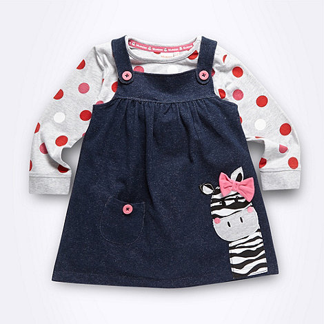 bluezoo - Babies navy zebra pinafore set