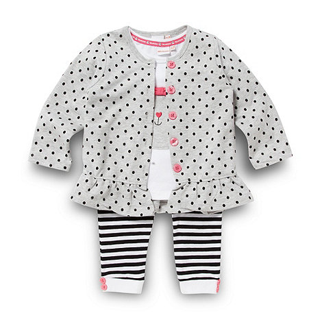 bluezoo - Babies grey bunny top cardigan and leggings set