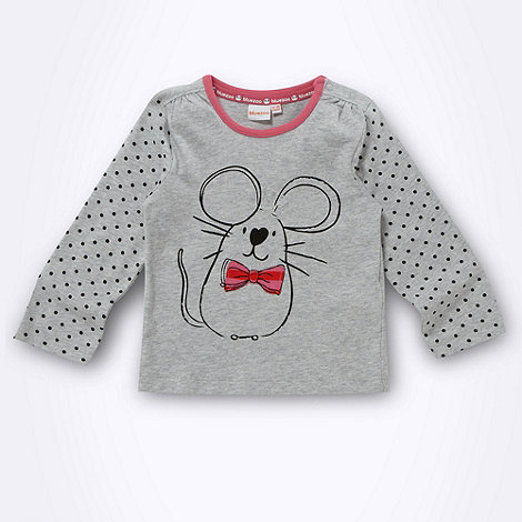 bluezoo - Girl+s grey mouse printed top