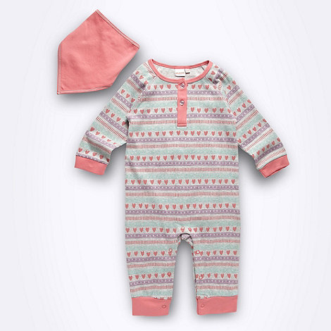 bluezoo - Babies grey footless aztec printed sleepsuit