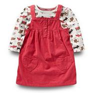 Girl's pink dog and cat top pinafore