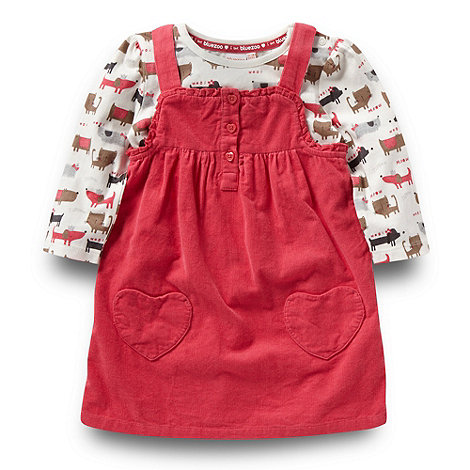 bluezoo - Girl+s pink dog and cat top pinafore