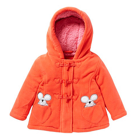 bluezoo - Babies red applique mice fleece duffle coat