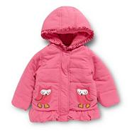 Babies pink padded applique owl coat