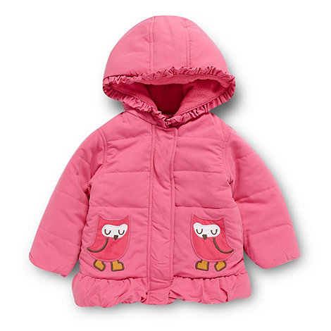 bluezoo - Babies pink padded applique owl coat