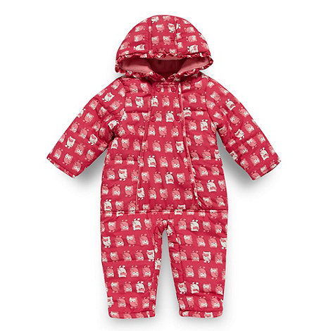 bluezoo - Babies pink padded owl snowsuit