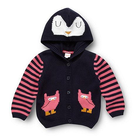 bluezoo - Babies navy owl motif cardigan