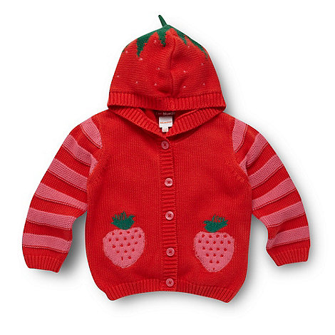 bluezoo - Babies red knitted strawberry cardigan
