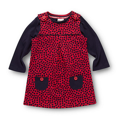 bluezoo - Babies navy spotted pinafore dress and top set