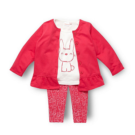 bluezoo - Babies pink bunny print top cardigan and leggings set
