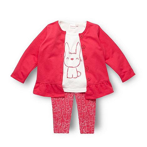 bluezoo - Babies pink bunny print top cardigan and leggings set