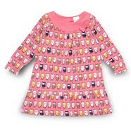 Babies pink owl patterned A-line dress