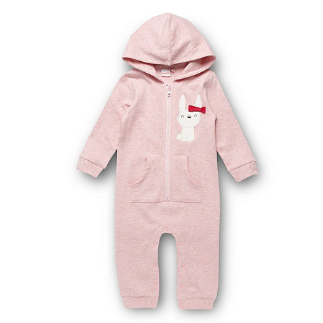 bluezoo - Babies pink applique bunny all in one suit
