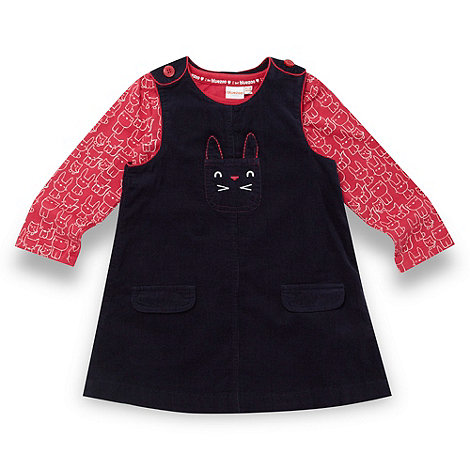 bluezoo - Babies navy rabbit cord dress and top set