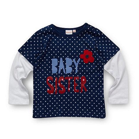 bluezoo - Babies navy polka dot +Baby Sister+ top