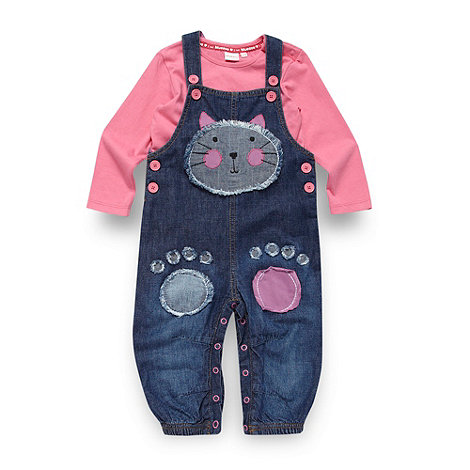 bluezoo - Babies blue applique cat dungarees and top set