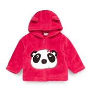 Babies dark pink panda bear fleece jacket