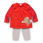 Babies red dog printed tunic and leggings set