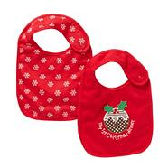 Babies pack of two red Christmas bibs