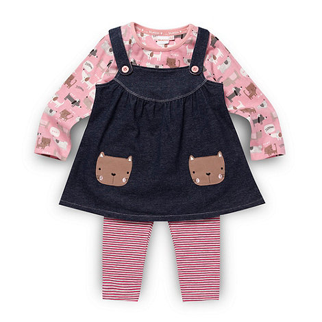 bluezoo - Babies pink animal tunic pinafore and leggings set