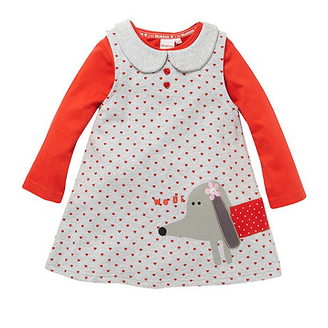 bluezoo - Babies grey dog pinafore and top set