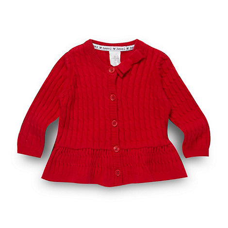 J by Jasper Conran - Designer babies red cable knit peplum cardigan