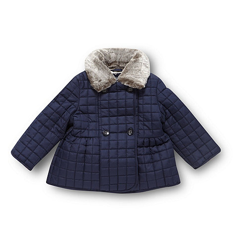 J by Jasper Conran - Designer babies navy quilted faux fur collar coat