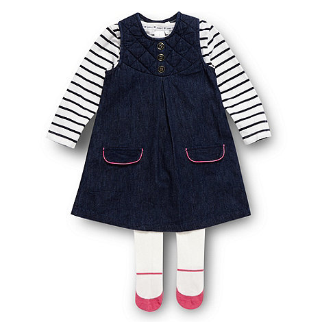 J by Jasper Conran - Designer babies navy quilted pinafore, top and tights set