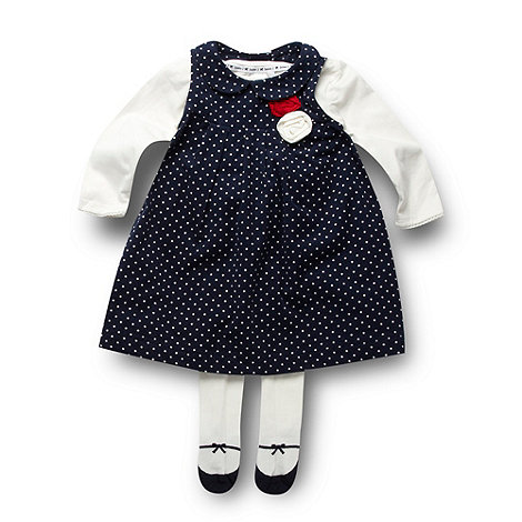 J by Jasper Conran - Designer babies navy spotted pinafore set