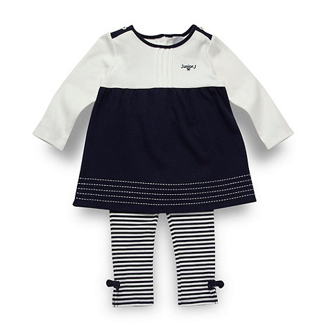 J by Jasper Conran - Designer babies navy tunic and striped leggings set