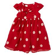 Designer babies red spotted chiffon dress
