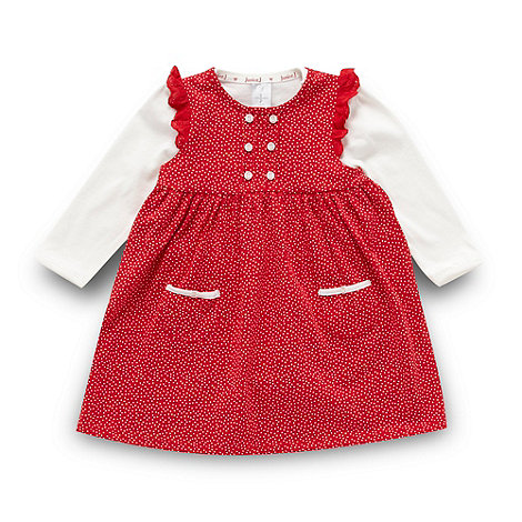 J by Jasper Conran - Designer babies red spotted pinafore dress and bodysuit set