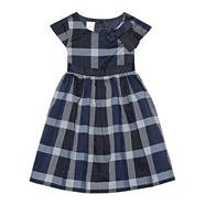 Designer babies navy checked bow dress